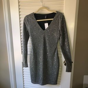 Silver Mini Dress embellished with rhinestones